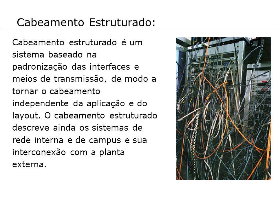Cabeamento Estruturado: Cabeamento estruturado é um sistema baseado na padronização das interfaces e meios de transmissão, de modo a tornar o cabeamen