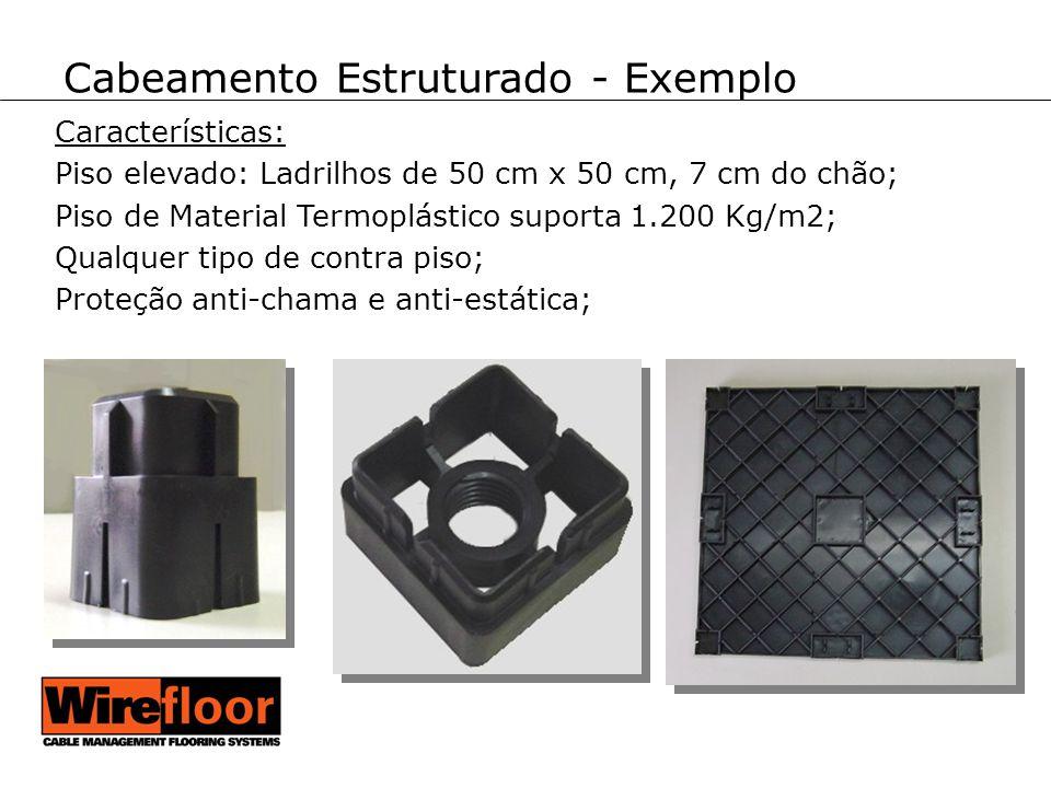 Cabeamento Estruturado - Exemplo Características: Piso elevado: Ladrilhos de 50 cm x 50 cm, 7 cm do chão; Piso de Material Termoplástico suporta 1.200