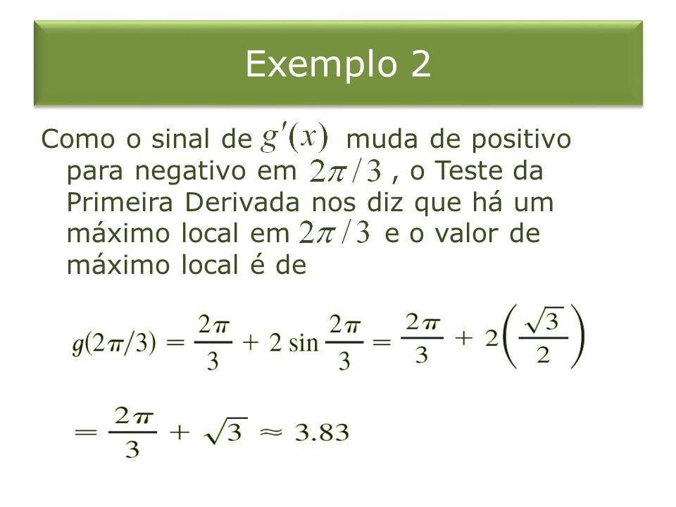 Exemplo 2 Como o sinal de muda de positivo para negativo em, o Teste da Primeira Derivada nos diz que há um máximo local em e o valor de máximo local