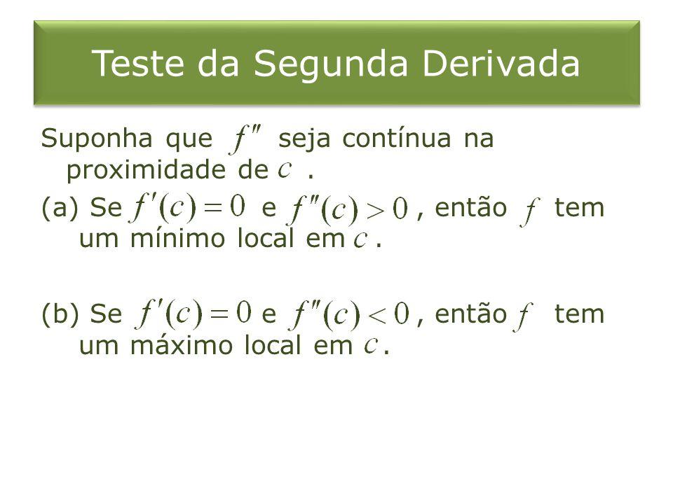 Teste da Segunda Derivada Suponha que seja contínua na proximidade de. (a) Se e, então tem um mínimo local em. (b) Se e, então tem um máximo local em.