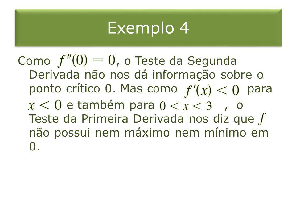 Exemplo 4 Como, o Teste da Segunda Derivada não nos dá informação sobre o ponto crítico 0. Mas como para e também para, o Teste da Primeira Derivada n
