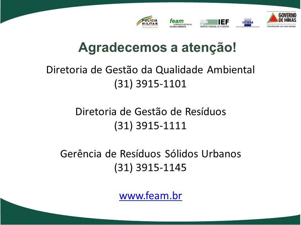 Agradecemos a atenção! Diretoria de Gestão da Qualidade Ambiental (31) 3915-1101 Diretoria de Gestão de Resíduos (31) 3915-1111 Gerência de Resíduos S
