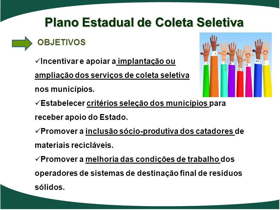 Plano Estadual de Coleta Seletiva OBJETIVOS Incentivar e apoiar a implantação ou ampliação dos serviços de coleta seletiva nos municípios. Estabelecer