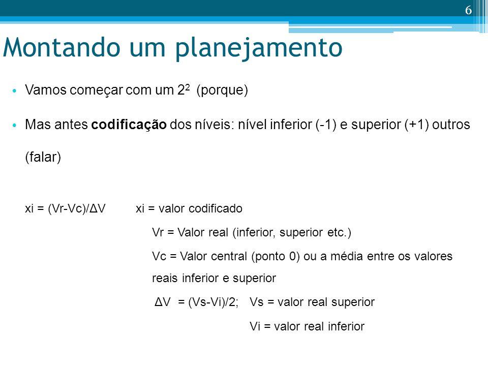 Montando um planejamento Vamos começar com um 2 2 (porque) Mas antes codificação dos níveis: nível inferior (-1) e superior (+1) outros (falar) xi = (Vr-Vc)/ΔV xi = valor codificado Vr = Valor real (inferior, superior etc.) Vc = Valor central (ponto 0) ou a média entre os valores reais inferior e superior ΔV = (Vs-Vi)/2; Vs = valor real superior Vi = valor real inferior 6