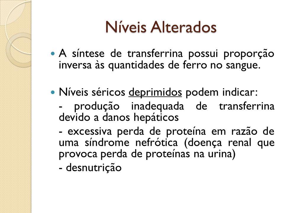 Níveis Alterados A síntese de transferrina possui proporção inversa às quantidades de ferro no sangue. Níveis séricos deprimidos podem indicar: - prod