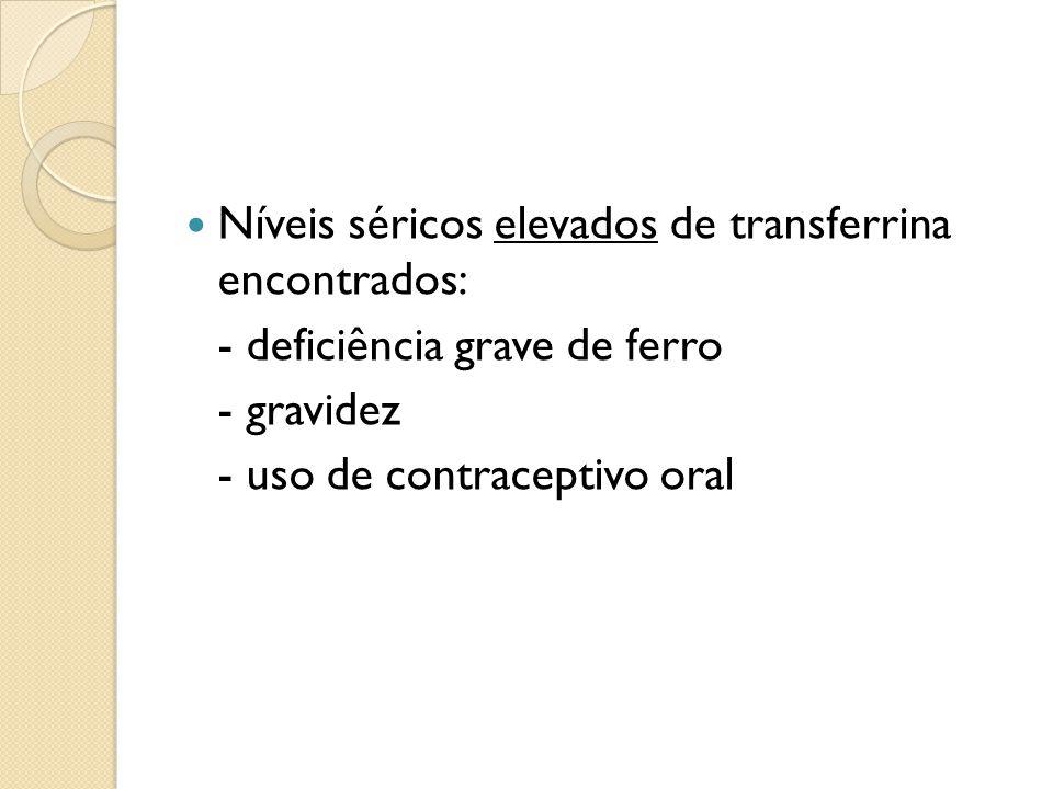 Níveis séricos elevados de transferrina encontrados: - deficiência grave de ferro - gravidez - uso de contraceptivo oral