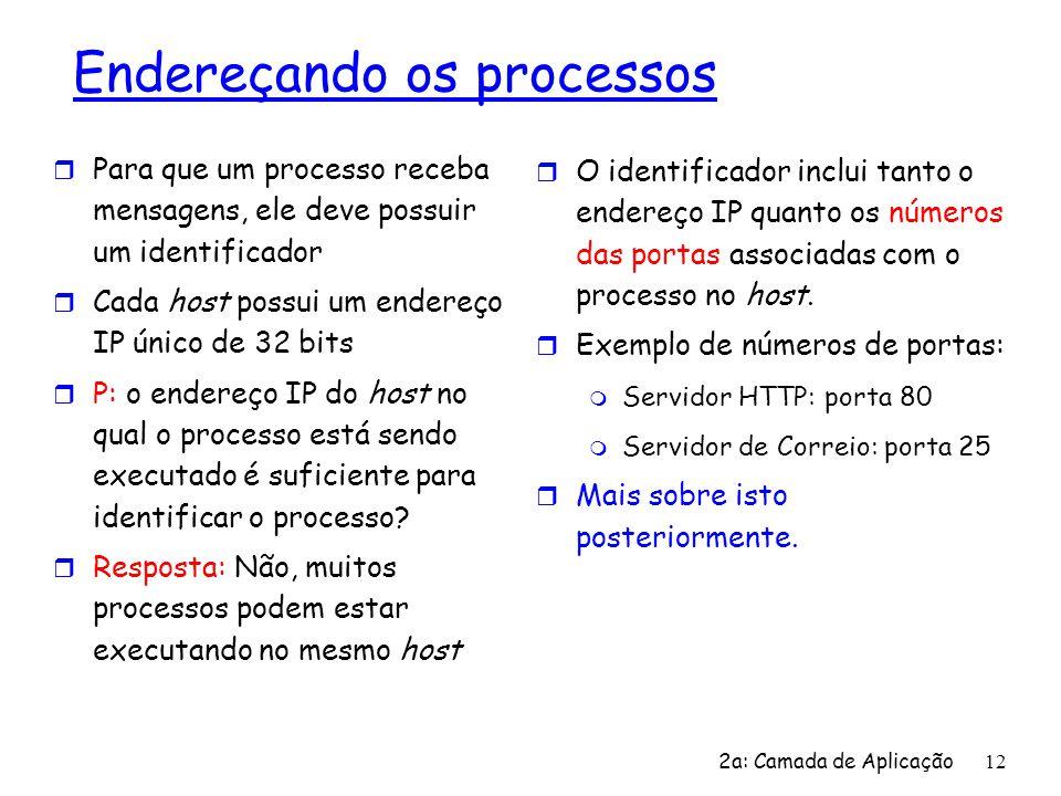 2a: Camada de Aplicação 12 Endereçando os processos r Para que um processo receba mensagens, ele deve possuir um identificador r Cada host possui um e