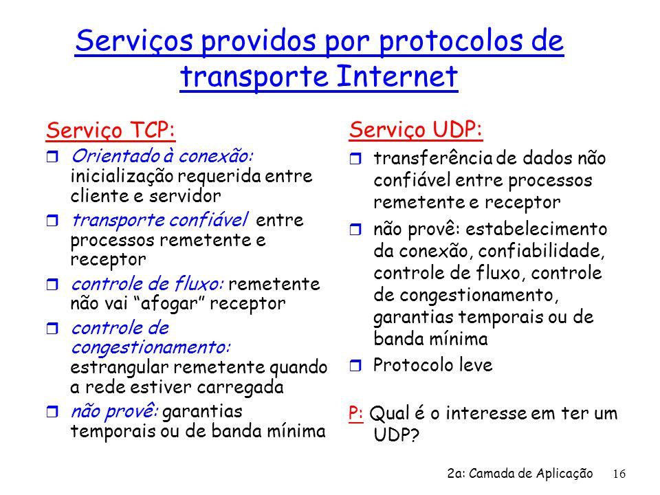 2a: Camada de Aplicação 16 Serviços providos por protocolos de transporte Internet Serviço TCP: r Orientado à conexão: inicialização requerida entre c