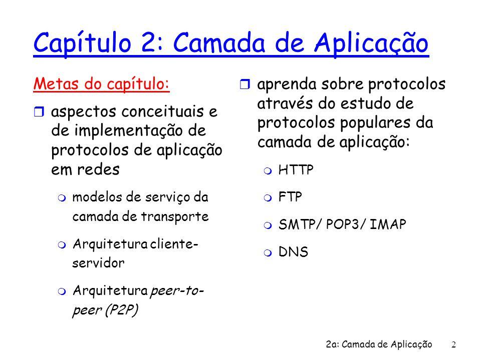 2 Capítulo 2: Camada de Aplicação Metas do capítulo: r aspectos conceituais e de implementação de protocolos de aplicação em redes m modelos de serviç