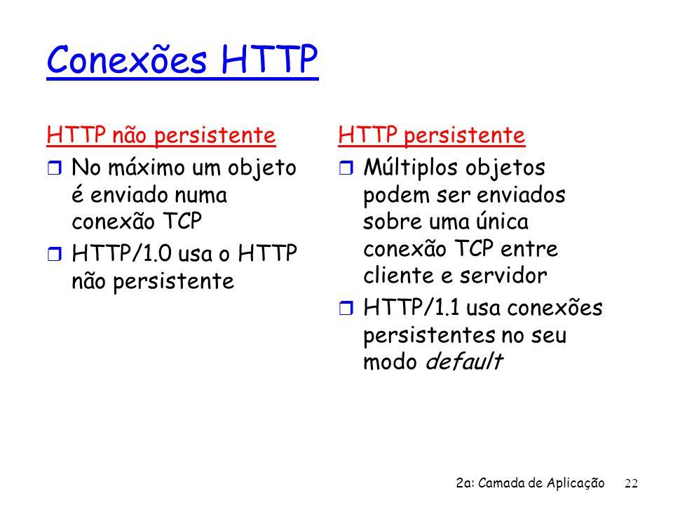 2a: Camada de Aplicação 22 Conexões HTTP HTTP não persistente r No máximo um objeto é enviado numa conexão TCP r HTTP/1.0 usa o HTTP não persistente H