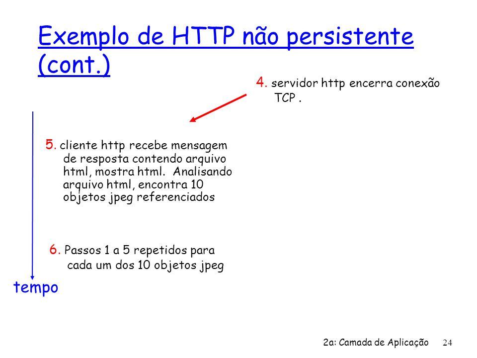 2a: Camada de Aplicação 24 Exemplo de HTTP não persistente (cont.) 5. cliente http recebe mensagem de resposta contendo arquivo html, mostra html. Ana