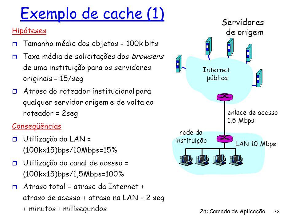 2a: Camada de Aplicação 38 Exemplo de cache (1) Hipóteses r Tamanho médio dos objetos = 100k bits r Taxa média de solicitações dos browsers de uma ins