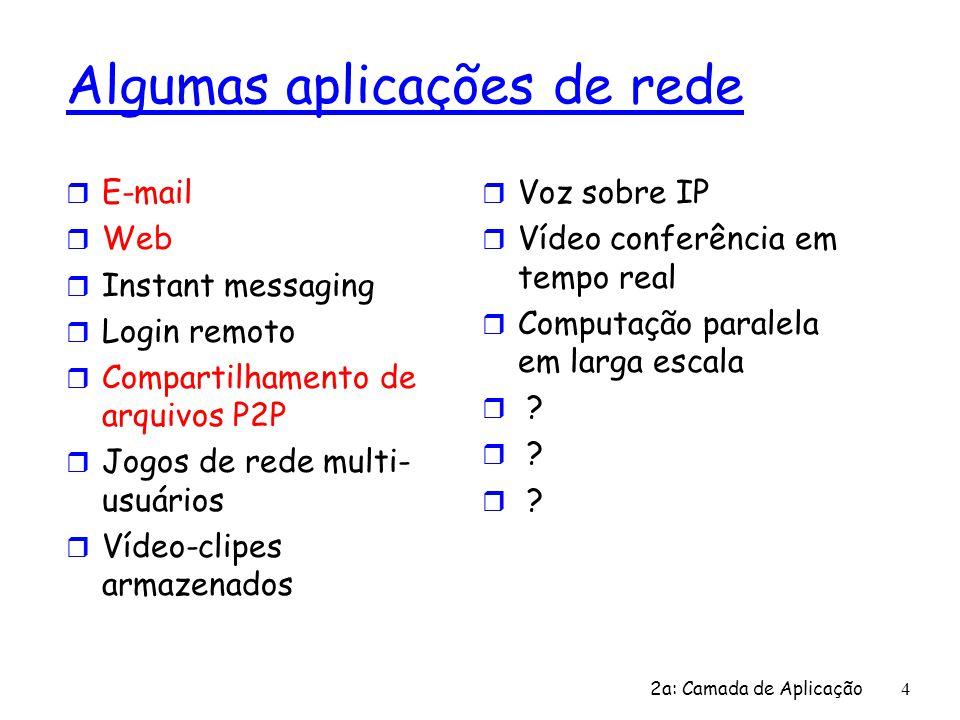2a: Camada de Aplicação 4 Algumas aplicações de rede r E-mail r Web r Instant messaging r Login remoto r Compartilhamento de arquivos P2P r Jogos de r