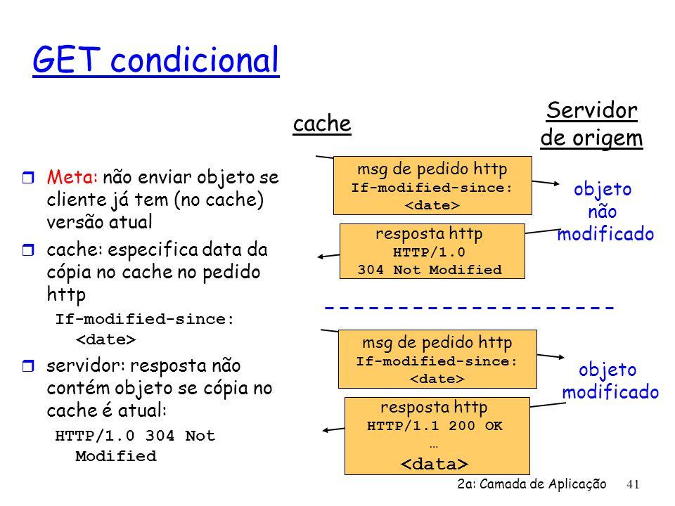 2a: Camada de Aplicação 41 GET condicional r Meta: não enviar objeto se cliente já tem (no cache) versão atual r cache: especifica data da cópia no ca