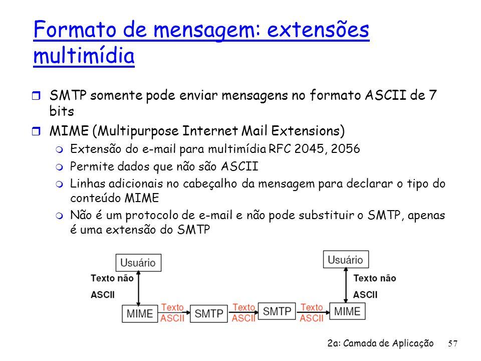 Formato de mensagem: extensões multimídia r SMTP somente pode enviar mensagens no formato ASCII de 7 bits r MIME (Multipurpose Internet Mail Extension