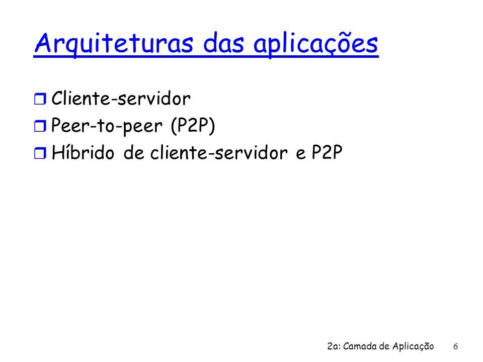 2a: Camada de Aplicação 6 Arquiteturas das aplicações r Cliente-servidor r Peer-to-peer (P2P) r Híbrido de cliente-servidor e P2P
