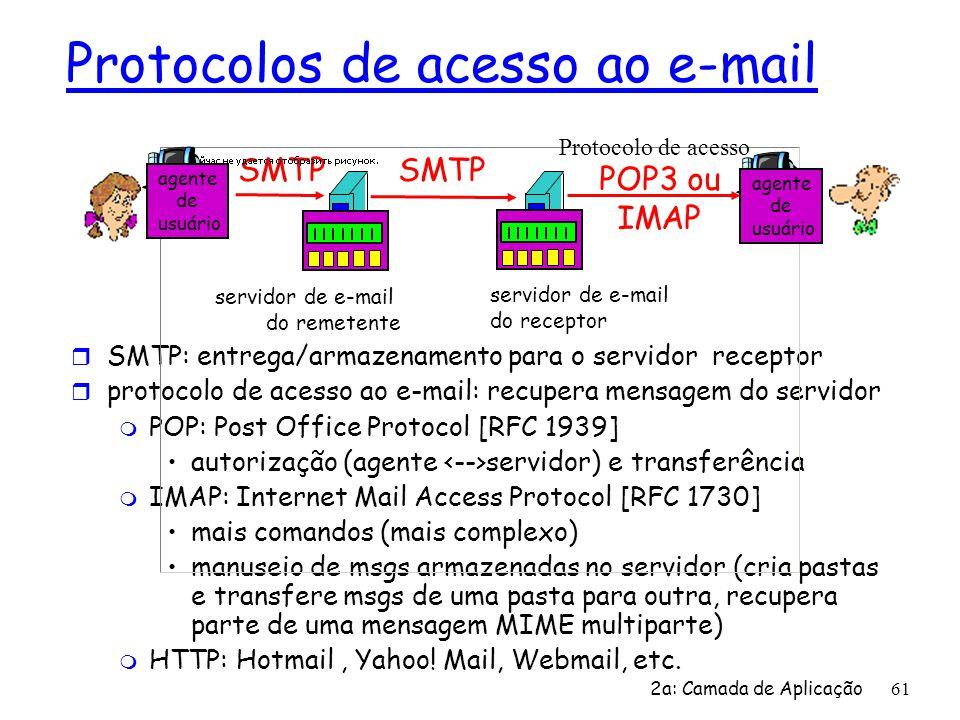 2a: Camada de Aplicação 61 Protocolos de acesso ao e-mail r SMTP: entrega/armazenamento para o servidor receptor r protocolo de acesso ao e-mail: recu