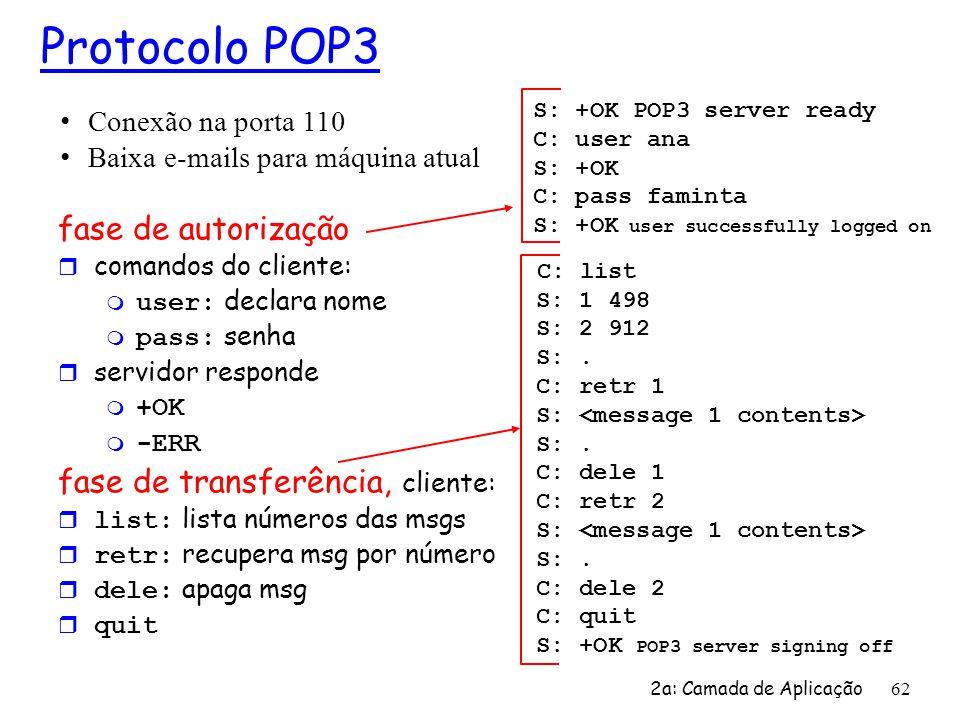 2a: Camada de Aplicação 62 Protocolo POP3 fase de autorização r comandos do cliente: user: declara nome pass: senha r servidor responde m +OK -ERR fas