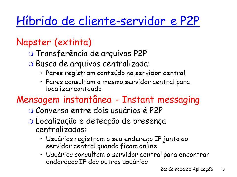 2a: Camada de Aplicação 9 Híbrido de cliente-servidor e P2P Napster (extinta) m Transferência de arquivos P2P m Busca de arquivos centralizada: Pares