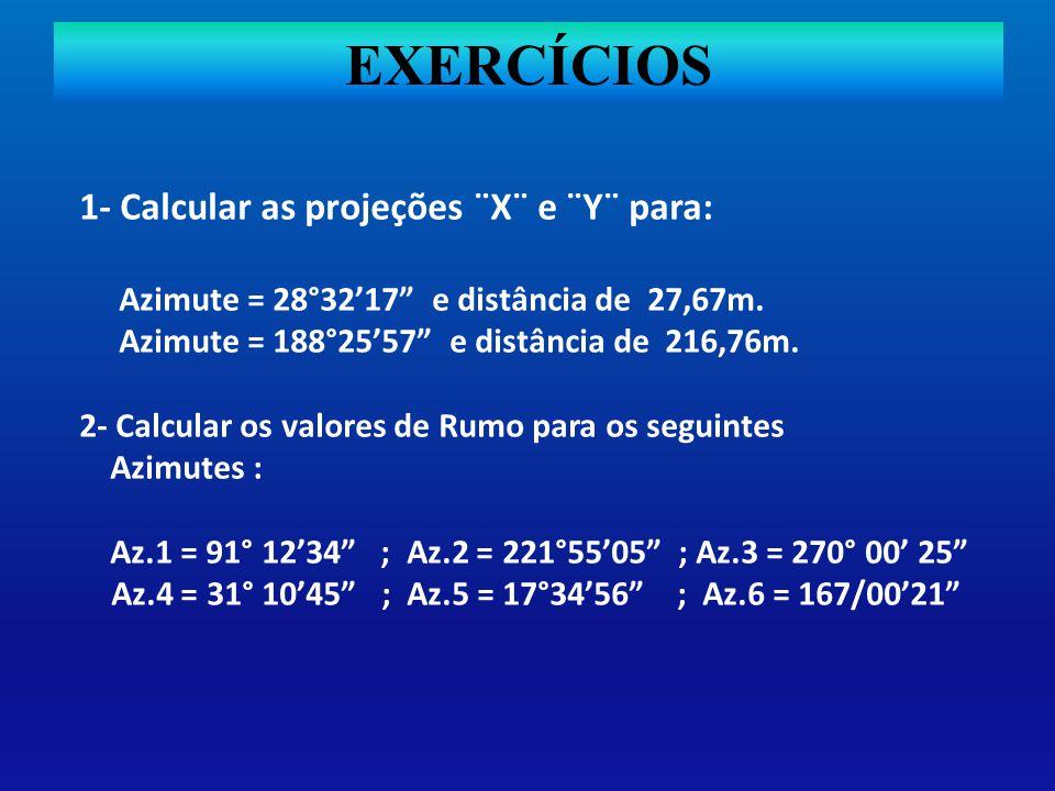 EXERCÍCIOS 1- Calcular as projeções ¨X¨ e ¨Y¨ para: Azimute = 28°3217 e distância de 27,67m. Azimute = 188°2557 e distância de 216,76m. 2- Calcular os