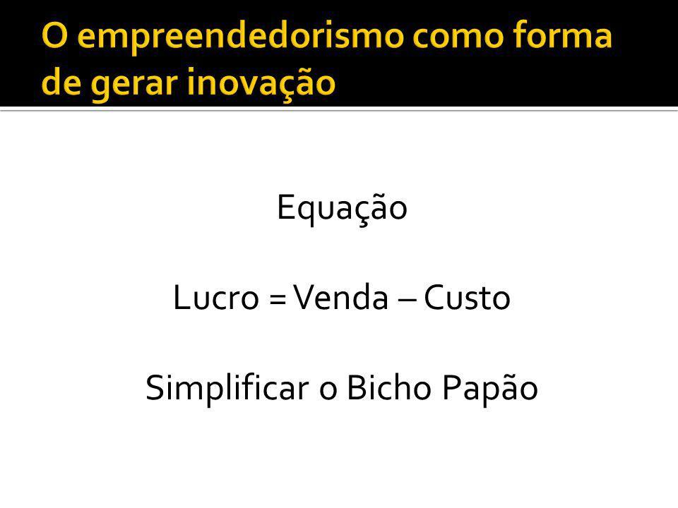 Equação Lucro = Venda – Custo Simplificar o Bicho Papão