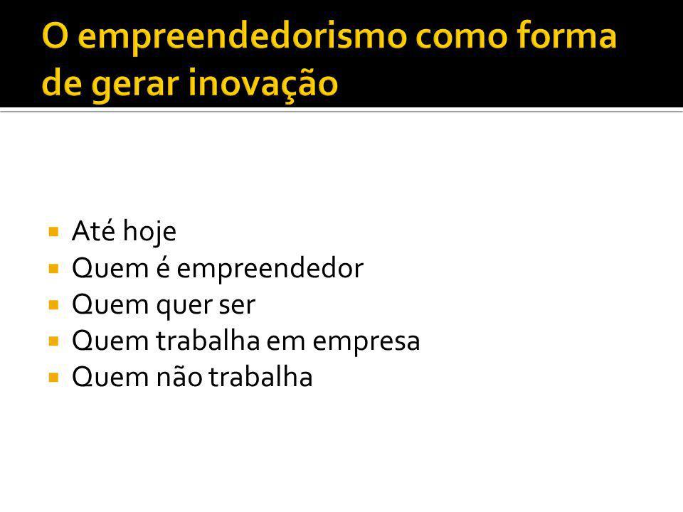 Até hoje Quem é empreendedor Quem quer ser Quem trabalha em empresa Quem não trabalha