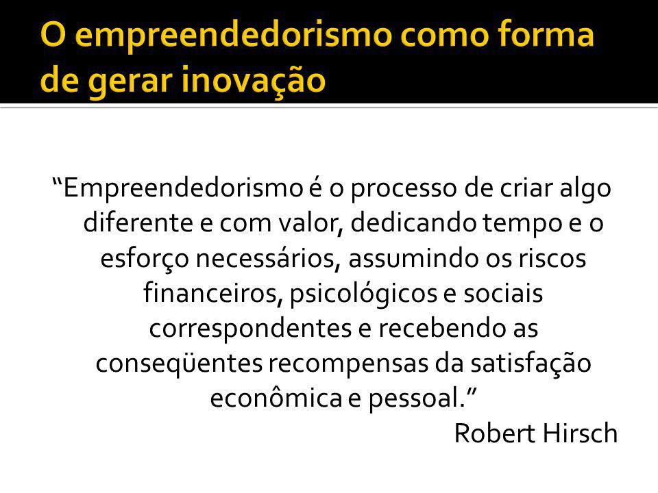 Empreendedorismo é o processo de criar algo diferente e com valor, dedicando tempo e o esforço necessários, assumindo os riscos financeiros, psicológi
