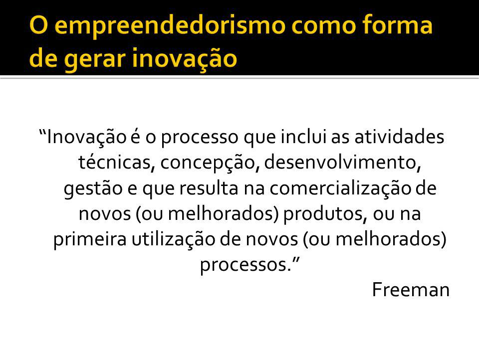 Inovação é o processo que inclui as atividades técnicas, concepção, desenvolvimento, gestão e que resulta na comercialização de novos (ou melhorados) produtos, ou na primeira utilização de novos (ou melhorados) processos.