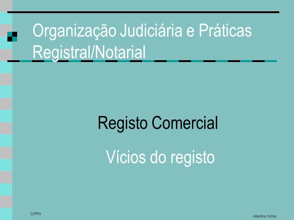 Organização Judiciária e Práticas Registral/Notarial Albertina Nobre OJPRN Registo Comercial Vícios do registo
