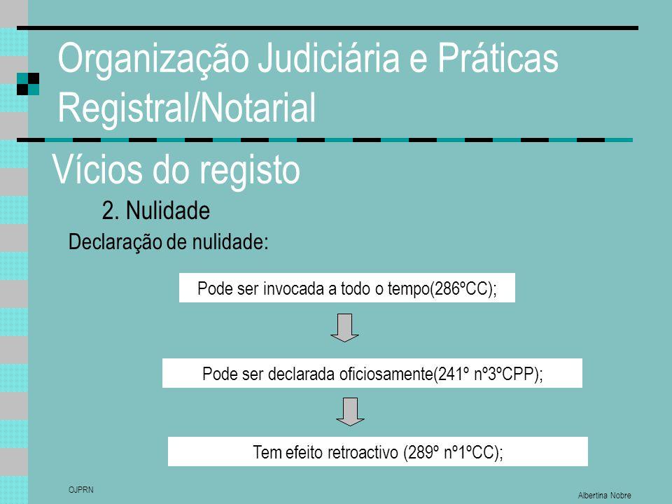 Albertina Nobre OJPRN Organização Judiciária e Práticas Registral/Notarial Vícios do registo 2. Nulidade Declaração de nulidade: Pode ser invocada a t