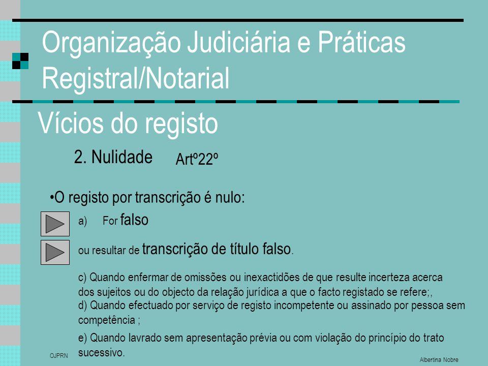 Albertina Nobre OJPRN Organização Judiciária e Práticas Registral/Notarial Vícios do registo 2. Nulidade O registo por transcrição é nulo: a)For falso