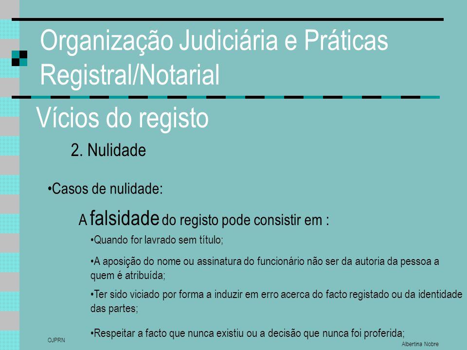 Albertina Nobre OJPRN Organização Judiciária e Práticas Registral/Notarial Vícios do registo 2. Nulidade Casos de nulidade: A falsidade do registo pod