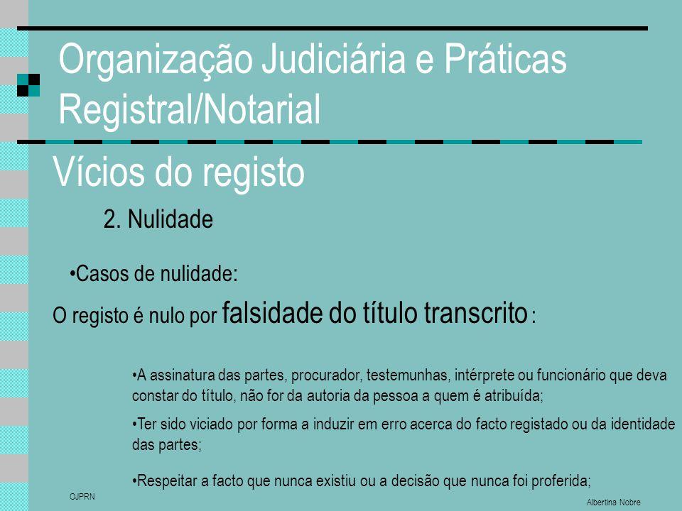 Albertina Nobre OJPRN Organização Judiciária e Práticas Registral/Notarial Vícios do registo 2. Nulidade Casos de nulidade: O registo é nulo por falsi
