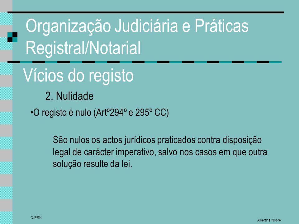 Albertina Nobre OJPRN Organização Judiciária e Práticas Registral/Notarial Vícios do registo 2. Nulidade O registo é nulo (Artº294º e 295º CC) São nul