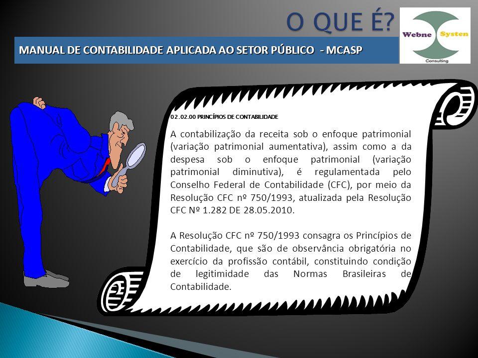 02.02.00 PRINCÍPIOS DE CONTABILIDADE A contabilização da receita sob o enfoque patrimonial (variação patrimonial aumentativa), assim como a da despesa sob o enfoque patrimonial (variação patrimonial diminutiva), é regulamentada pelo Conselho Federal de Contabilidade (CFC), por meio da Resolução CFC nº 750/1993, atualizada pela Resolução CFC Nº 1.282 DE 28.05.2010.