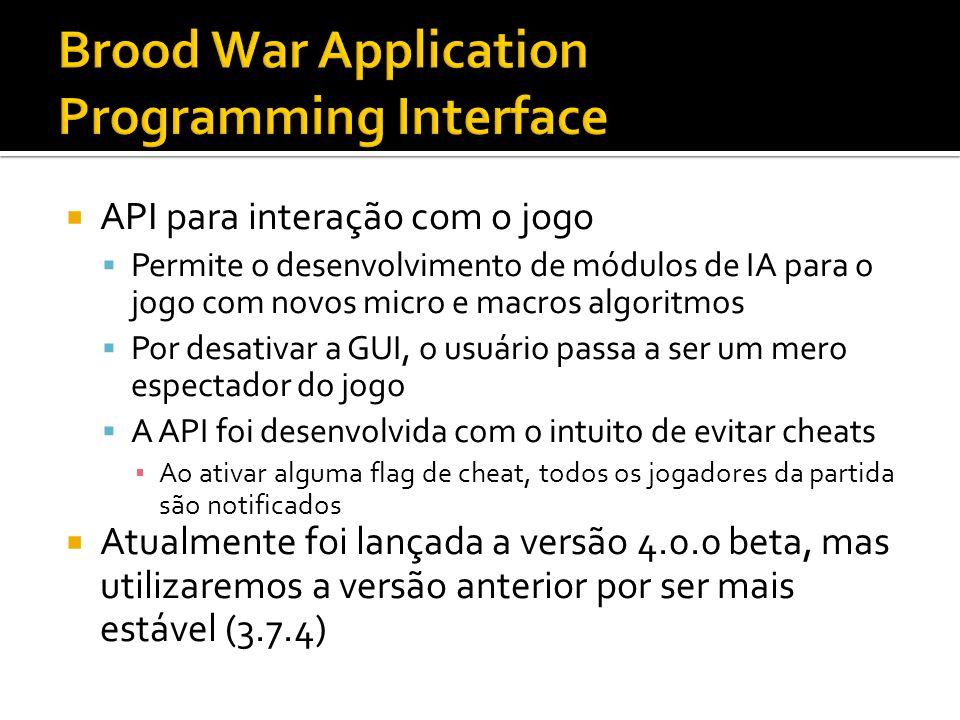 API para interação com o jogo Permite o desenvolvimento de módulos de IA para o jogo com novos micro e macros algoritmos Por desativar a GUI, o usuári