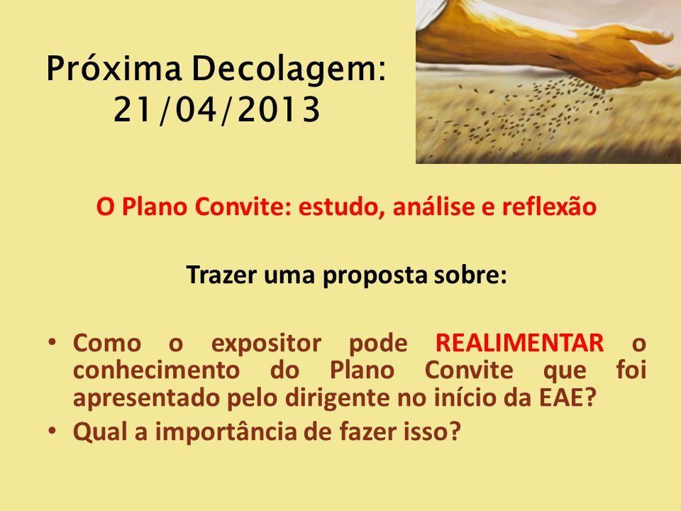Próxima Decolagem: 21/04/2013 O Plano Convite: estudo, análise e reflexão Trazer uma proposta sobre: Como o expositor pode REALIMENTAR o conhecimento