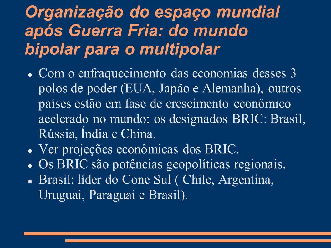 Organização do espaço mundial após Guerra Fria: do mundo bipolar para o multipolar Com o enfraquecimento das economias desses 3 polos de poder (EUA, J