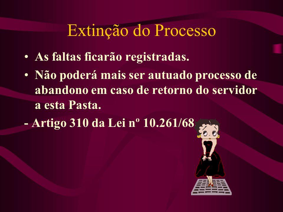 Extinção do Processo As faltas ficarão registradas. Não poderá mais ser autuado processo de abandono em caso de retorno do servidor a esta Pasta. - Ar