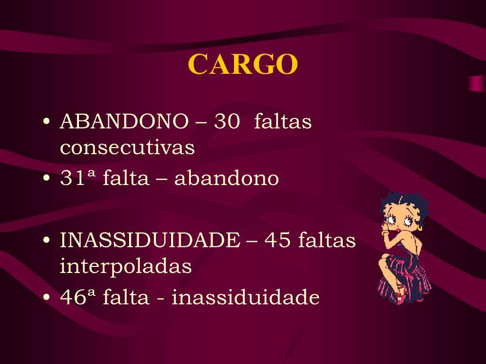 CARGO ABANDONO – 30 faltas consecutivas 31ª falta – abandono INASSIDUIDADE – 45 faltas interpoladas 46ª falta - inassiduidade