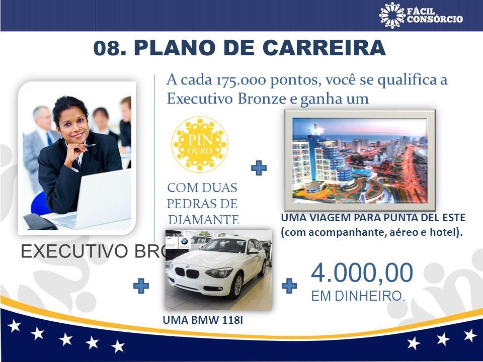 08. PLANO DE CARREIRA 4.000,00 EM DINHEIRO. EXECUTIVO BRONZE A cada 175.000 pontos, você se qualifica a Executivo Bronze e ganha um COM DUAS PEDRAS DE