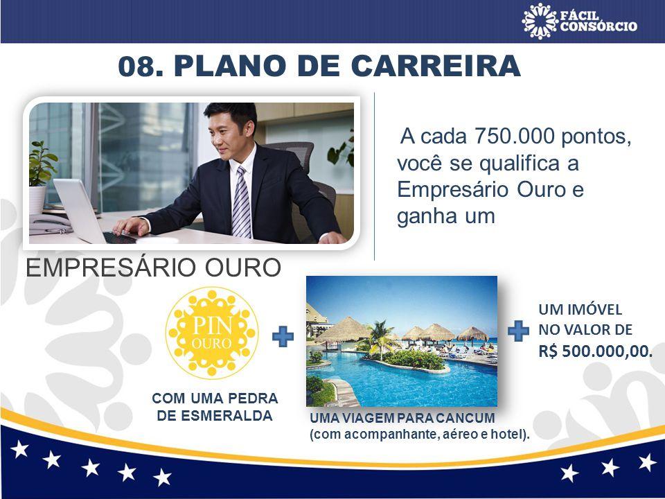 08. PLANO DE CARREIRA EMPRESÁRIO OURO A cada 750.000 pontos, você se qualifica a Empresário Ouro e ganha um COM UMA PEDRA DE ESMERALDA UMA VIAGEM PARA
