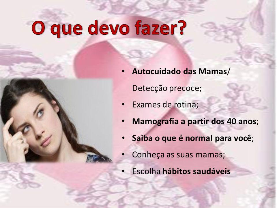 Autocuidado das Mamas/ Detecção precoce; Exames de rotina; Mamografia a partir dos 40 anos; Saiba o que é normal para você; Conheça as suas mamas; Esc