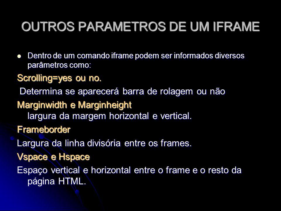 OUTROS PARAMETROS DE UM IFRAME Dentro de um comando iframe podem ser informados diversos parâmetros como: Dentro de um comando iframe podem ser inform
