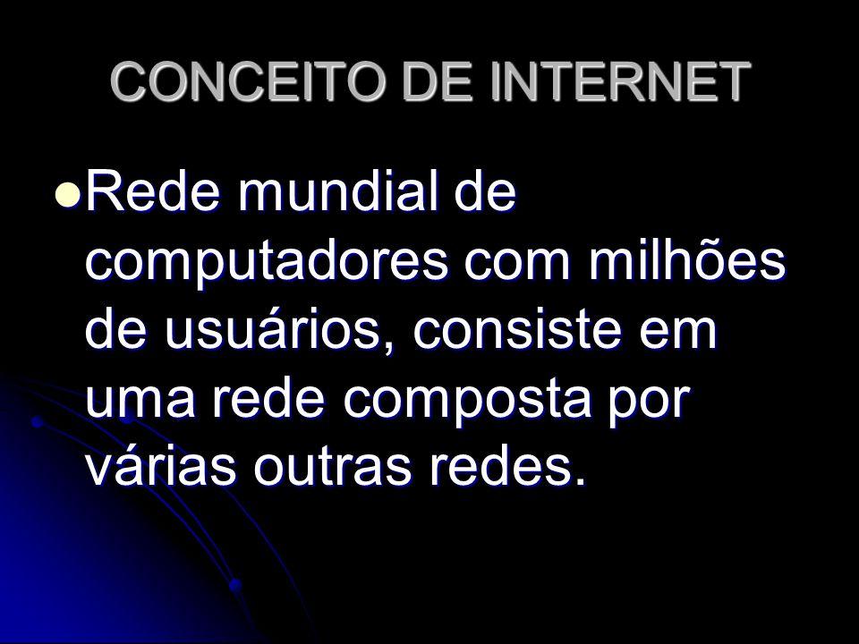 CONCEITO DE INTERNET Rede mundial de computadores com milhões de usuários, consiste em uma rede composta por várias outras redes. Rede mundial de comp