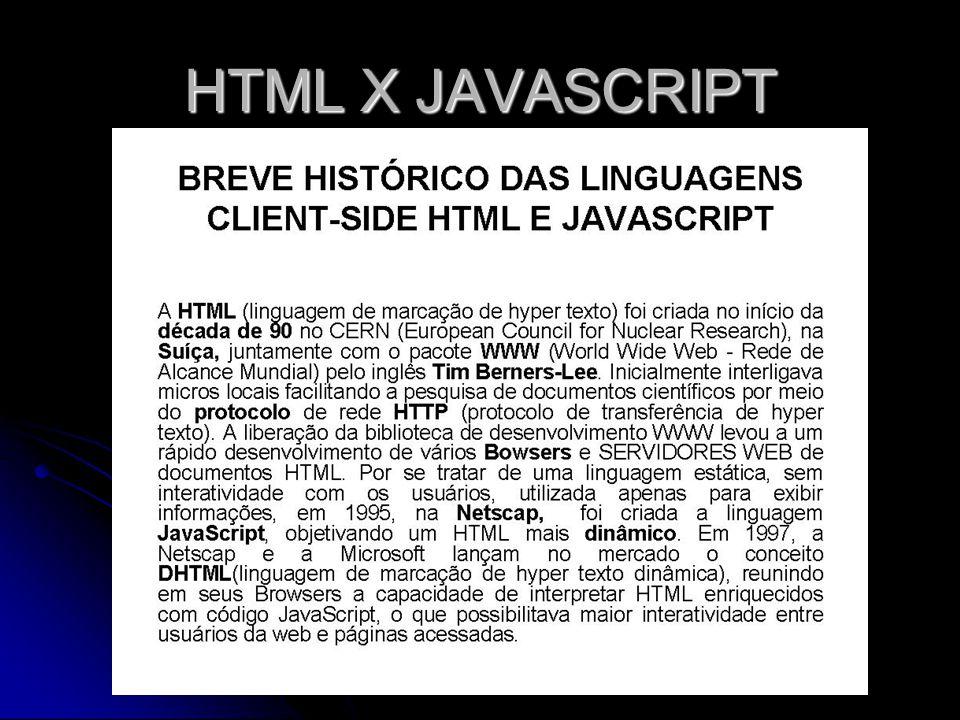 HTML X JAVASCRIPT