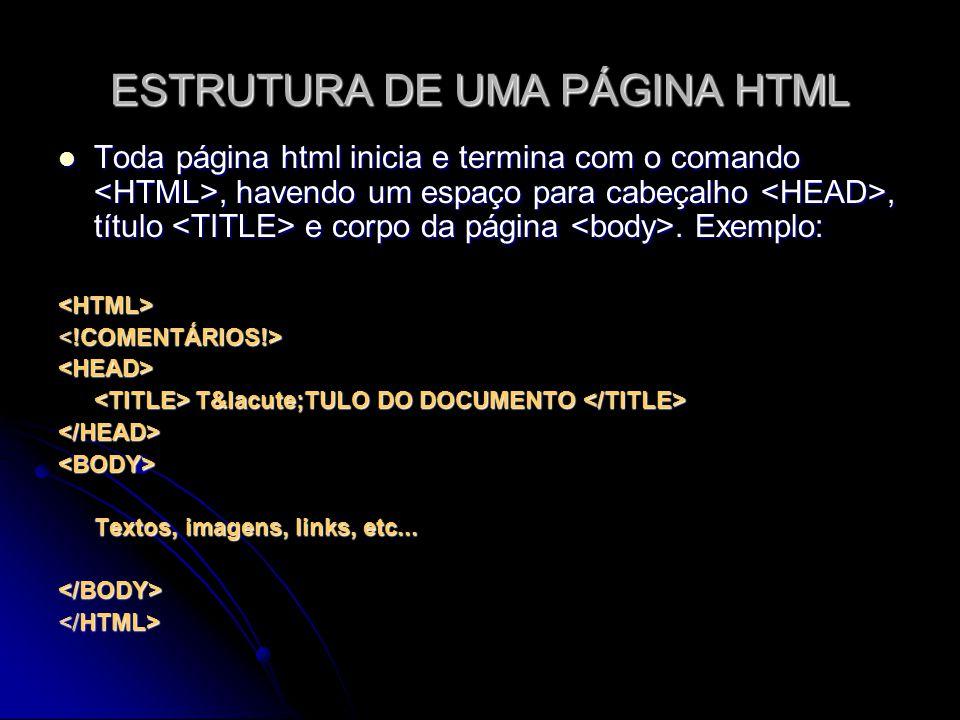 ESTRUTURA DE UMA PÁGINA HTML Toda página html inicia e termina com o comando, havendo um espaço para cabeçalho, título e corpo da página. Exemplo: Tod