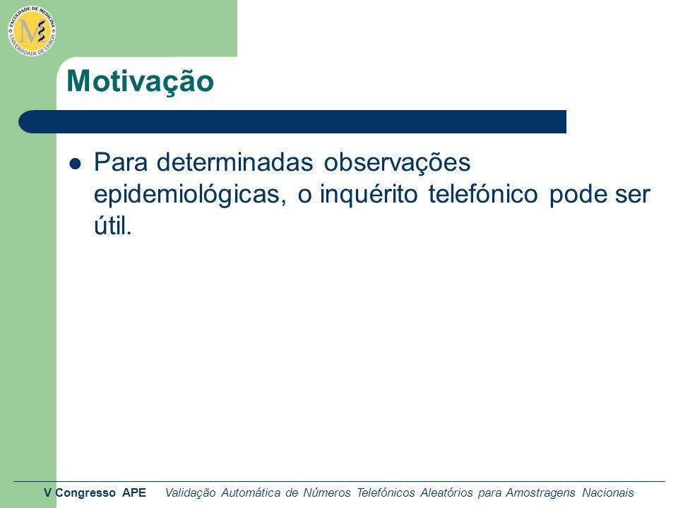 V Congresso APE Validação Automática de Números Telefónicos Aleatórios para Amostragens Nacionais Motivação Para determinadas observações epidemiológicas, o inquérito telefónico pode ser útil.