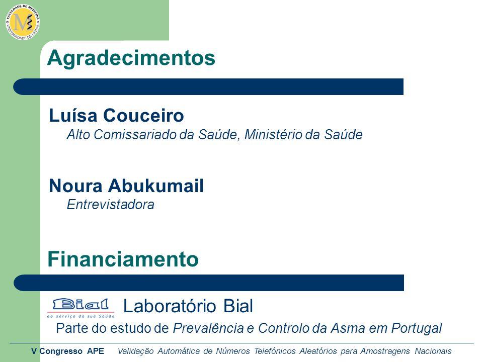 V Congresso APE Validação Automática de Números Telefónicos Aleatórios para Amostragens Nacionais Agradecimentos Luísa Couceiro Alto Comissariado da Saúde, Ministério da Saúde Noura Abukumail Entrevistadora Laboratório Bial Parte do estudo de Prevalência e Controlo da Asma em Portugal Financiamento