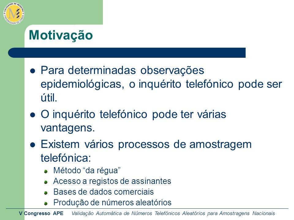 V Congresso APE Validação Automática de Números Telefónicos Aleatórios para Amostragens Nacionais Motivação Para determinadas observações epidemiológi